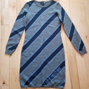 Love Moschino gray navy blue sweater dress stripes